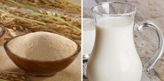 bột gạo và sữa tươi dưỡng trắng da